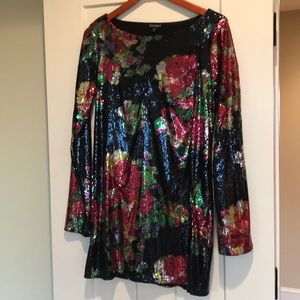 NYE Express Sequins Long Sleeve Dress